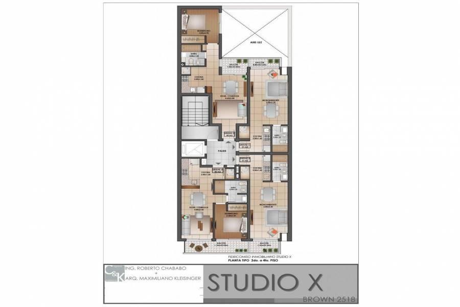 Rosario,Santa Fe,1 BañoBaños,Departamentos,Studio X,Brown,4,1529