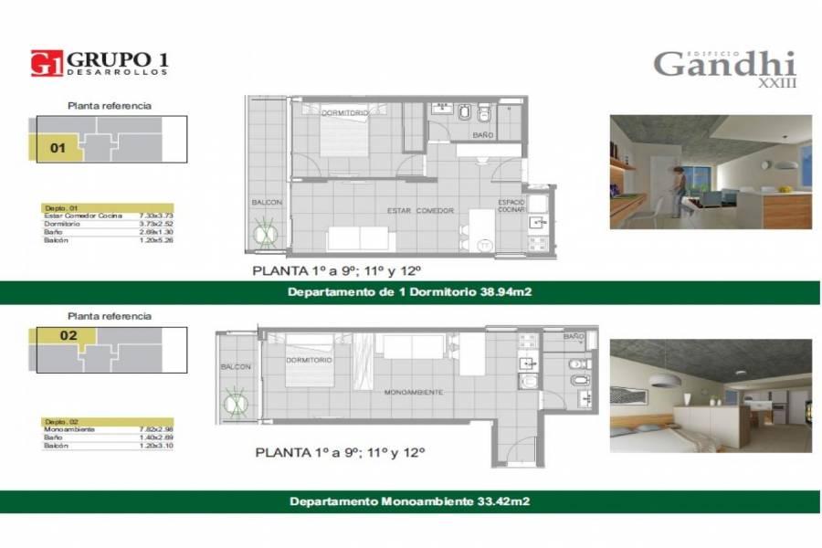 Rosario,Santa Fe,1 Dormitorio Habitaciones,1 BañoBaños,Departamentos,Gandi XXIII,Av. Francia,12,1542