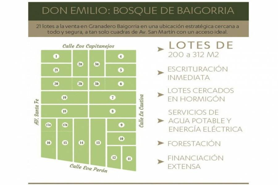 Granadero Baigorria,Santa Fe,Lotes,Barrio Cerrado Bosques Don Emilio,Av. Eva Peron,1593