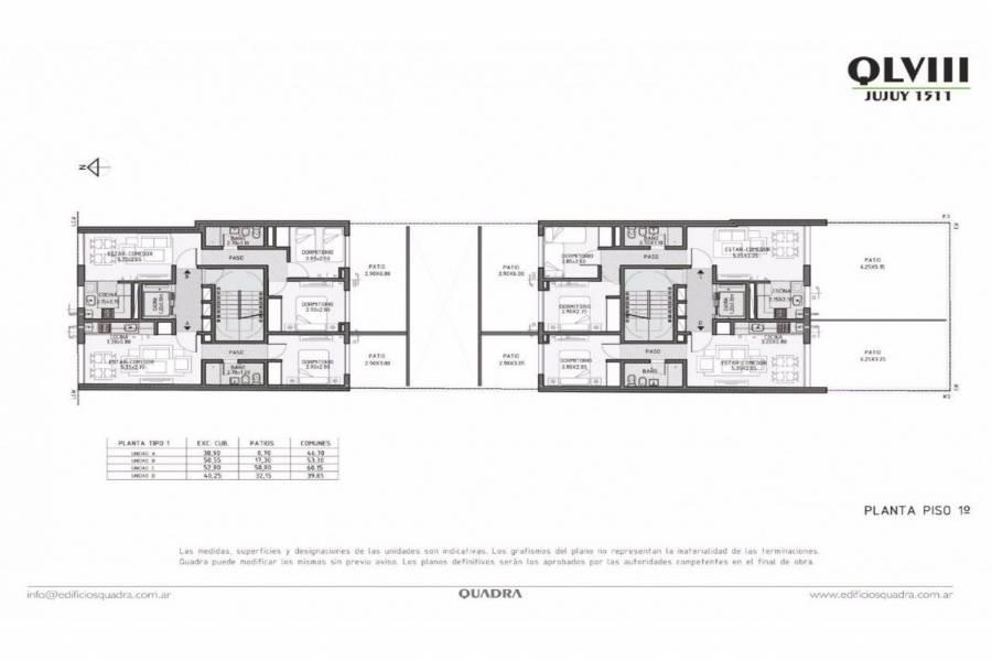 Rosario,Santa Fe,3 Habitaciones Habitaciones,2 BañosBaños,Departamentos,Quadra LVIII,Jujuy,6,1599